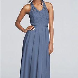 David's Bridal Steel Blue Long Dress Size 18